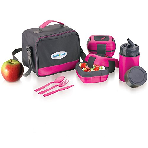 Lunch Box Bag Set for Adults and Kids ~ Pinnacle Insulated Leakproof Thermal Lunch KitLunch BagThermo bottle2 Lunch Containers With NEW Heat Release ValveMatching Cutlery - Pink
