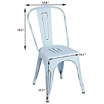 Furmax Distreeed Metal Chair with Back,Indoor Outdoor,Chic Dining Bistro Cafe Side Chairs