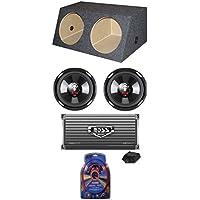 2) Boss P106DVC 10 4200W Car Subs + Dual Angle Sub Box+1600W 2-Ch Amp + Amp Kit