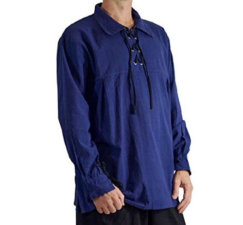 Karlywindow Men's Medieval Pirate Lace Up Stand Collar Wide Cuff Costume Shirt Tops -