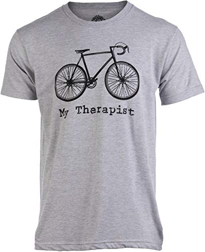 (My Therapist (Bicycle) | Funny Bike Riding Rider Cycling Cyclist Man T-Shirt-(Adult,XL) Heather Grey)