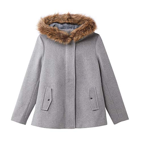 La Redoute Collections Womens Faux Fur Hood Wool Mix Coat Grey Size US 8 - FR 38 from La Redoute