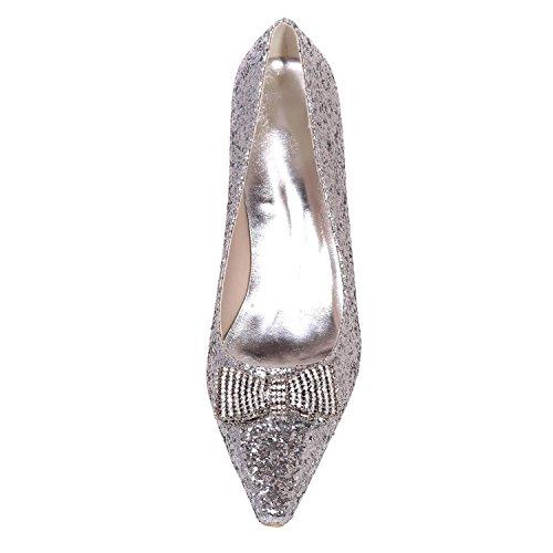 L@YC Frauen Hochzeit Schuhe Frühling Sommer Herbst hell flach mit Bogen Silber Gold / große Größe Golden