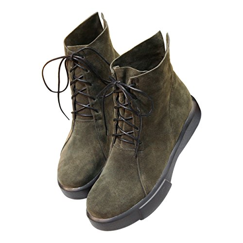 Green Slip Suede Lace Sports Flat Army Boots SNIDEL Outdoor Ankle Shoes Womens up Sneakers on 1wC6AqHnx