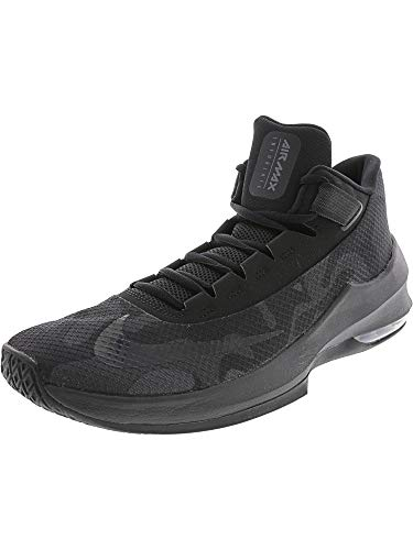 Nike Men's Air Max Infuriate 2 Mid Premium Basketball Shoe, Black/Black-Black-Anthracite, 12