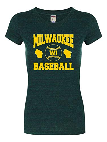 X-Large Emerald Womens Milwaukee Baseball Tri-Blend T-Shirt