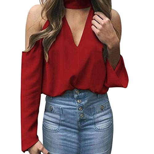 Red Routinfly Solid Femme Chemisier Col en V wZ0qwY