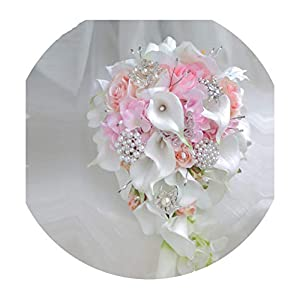 Waterfall Green White Wedding Flowers Bridal Bouquets Artificial Pearls Crystal Wedding Bouquets Bouquet De Mariage Rose,AS The picture3 23