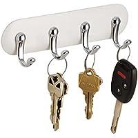 mDesign Wall Key Holder - 4 Key Hooks for Kitchen, Hallways and Entryways - Wall Mounted Key Rack - White