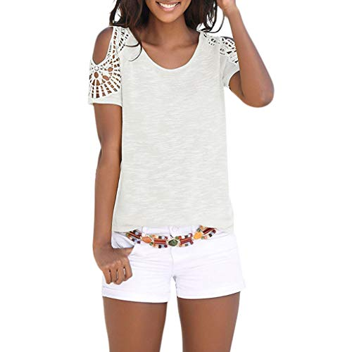 AgrinTol Women Tops Ladies Bohemian Short Sleeve O Neck Lace Patchwork Tops Tee Shirt Top Blouse