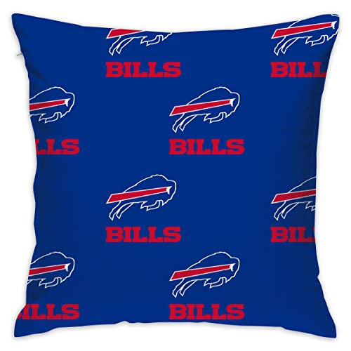 Jerrymoaus Buffalo Bills Simple Repetition, Zipper Pillowcase, Sofa Pillowcase, Office Pillowcase (17.7