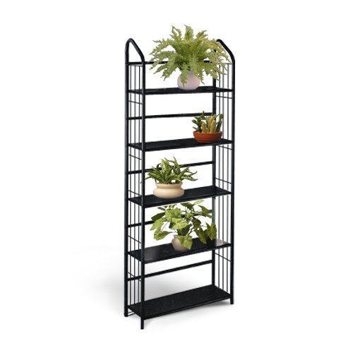Black Metal Outdoor Patio Plant Stand 5 Tier Shelf Unit (5-TIER SHELVES) by The Furniture Cove
