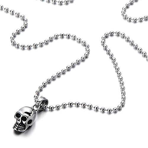Skull Pendant Necklace Stainless Polished