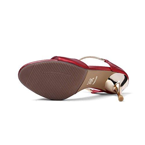Balamasa Ladies Pull-on High-heels Zapatillas De Material Suave Red