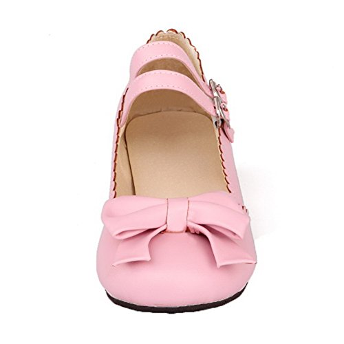 Odomolor Women's Solid PU Low-Heels Round-Toe Buckle Pumps-Shoes Pink rRqqg