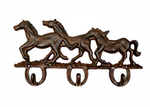 ron Three Running Horses Triple Key Hooks Clothes Rack Decorative Key Chain Wall Hanger ()