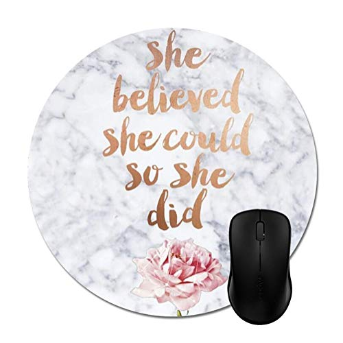 (Quotes Marble Mouse Pads White Rose Gold Mouse Mat Stylish Office Accessories 8in)