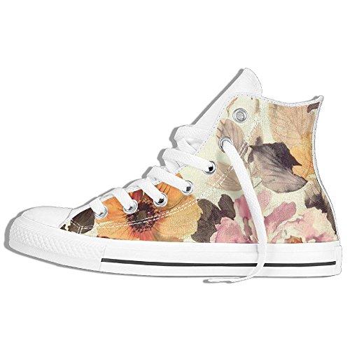Fiore Di Primavera Alta Cima Classica Scarpe Di Tela Moda Sneaker Bianco