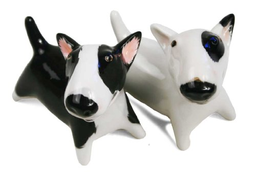 Bull Terrier Mini White And Black Handmade Cruet Set (6cm x 6cm) by Blue Witch