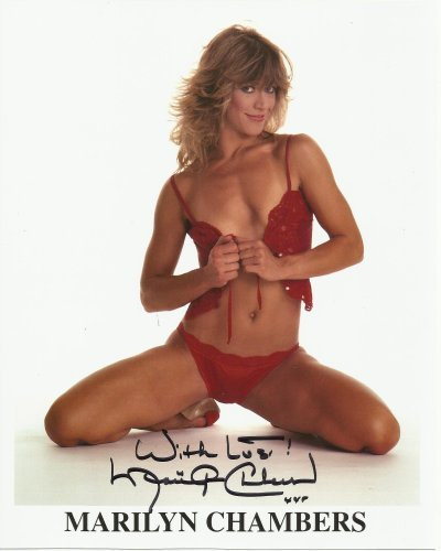 Marilyn Chambers hand-signed 8 x 10 photo C of A #3 red bra & panties
