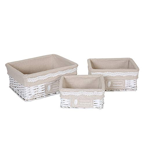 HOSROOME Storage Baskets Set with Liners Woven Wicker Storage Baskets for Decorative Organizing Nesting Baskets for Bedroom Bathroom(Set of 3,White) (White Baskets For Wicker Nursery)