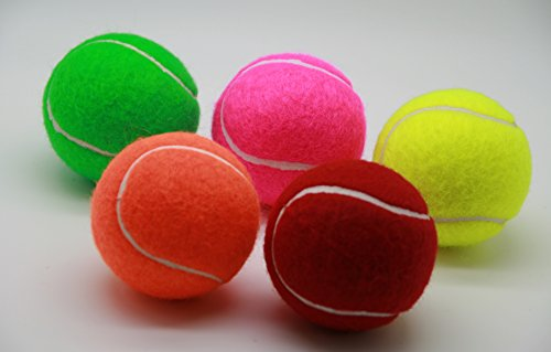 (Price's 5 Colored Tennis balls(5) pressureless, durable and long lasting. Colors: Red, Orange, Green, Pink & Yellow. Made in the UK.)