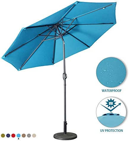 Aok Garden 9Ft Patio Outdoor Umbrella Market Table Fade-Resistant Umbrella with Push Button Tilt and Crank for Garden Backyard Deck,Update Light Blue