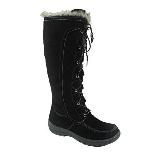 Genuine Leather Snow Boots - Comfy Moda Women's Winter Snow Boots Genuine Suede Leather #6-12 - Warsaw (7, Black)