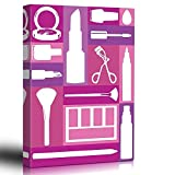 Canvas Prints Wall Art - Home Decor - Makeup - Pink Patchwork - Stencil Style - Bathroom Mirror - Art Deco Modern Design Graphic - Canvas Art Home Decor - 12'' x 16'' inches