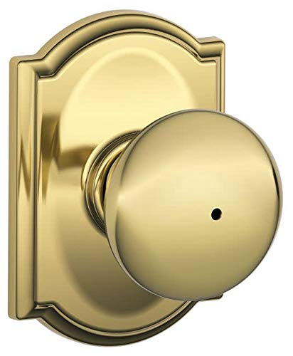 (Schlage Lock Company F40PLY605CAM Polished Brass Knobset, Privacy Plymouth Door Knobset)