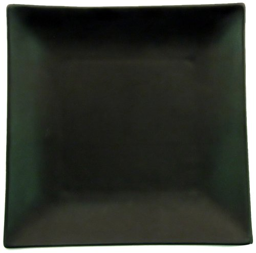 CAC China 6-S21-BK Japanese Style 11-1/2-Inch Non Glare Glaze Black Square Plate, Box of 12 by CAC China