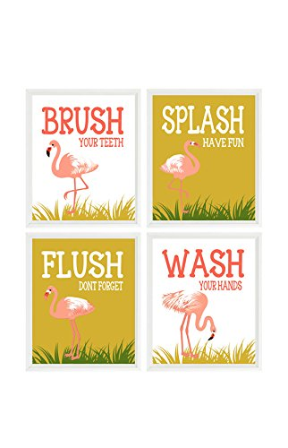 Amazon.com: Flamingo Bathroom Wall Art, Kids Bathroom, Wash, Flush ...