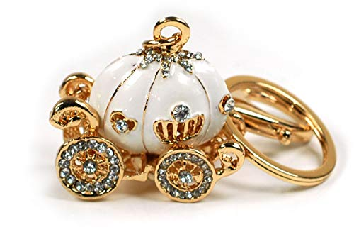 (Cinderella Princess Enamel Rhinestone Pumpkin Carriage Crystal Keychain Rhinestone Crystal Handbag Key Charm Ring (White))