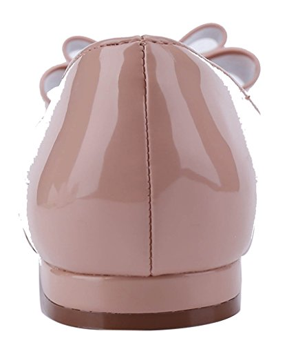 Color On Bowkont Dress Pointy 8Nude Flat CAMSSOO Solid Ballet with Sweet Toe Slip Women's qCSHZ6xwt