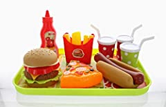 GIFTEXPRESS Fast Food Pretend PlaySet  American favorite fast foods pretend play set included burgers, hot dog, pizza, fries, 3 drinks, ketchup and a tray. Love play and Learn Playing with GIFTEXPRESS Burger Fast Food is perfectly for imagnat...