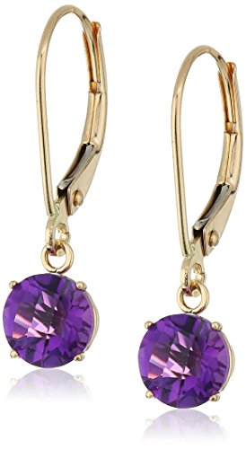 10k Yellow Gold Round Checkerboard Cut Amethyst Leverback Earrings (6mm)