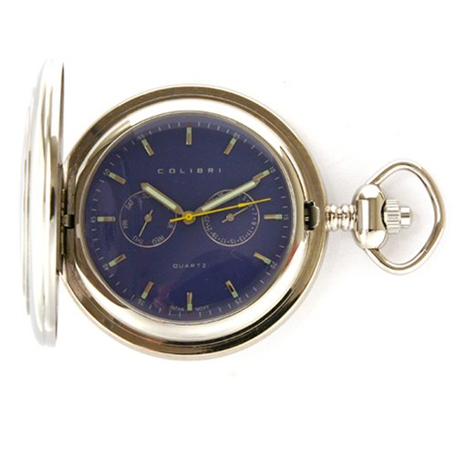 Colibri Hunting Case Stainless Steel Pocket Watch Tech Design Day Date PWQ096909 (Designer Pocket Watch)