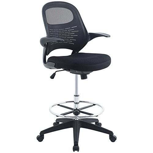 Modway Advance Drafting Stool In Black - Reception Desk Chair - Tall Office Chair For Adjustable Standing Desks - Drafting Table Chair - Flip-Up Arms
