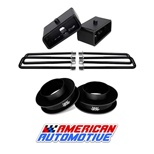 "American Automotive 1999-2007 Silverado Lift Kit 2WD 3"" Front Spring Spacers + 2"" Rear Blocks Made in USA Steel Road Fury TIG Welded"