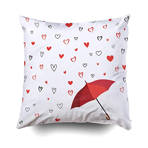 GROOTEY Decorative Cotton Square Pillow Case Covers with Zippered Closing for Home Sofa Decor Size 16X16 Inch Costom Pillowcse Throw Cover Cushion Halloween Heart Texture Romantic Date Card Hearts ()