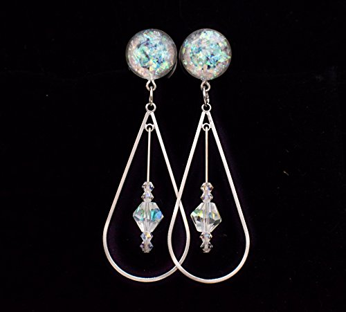 Handmade Holographic Crystal Teardrop Dangle Plugs 6g, 4g, 2g, 0g, 00g, 7/16, 1/2 in, 9/16 in, 5/8 inch