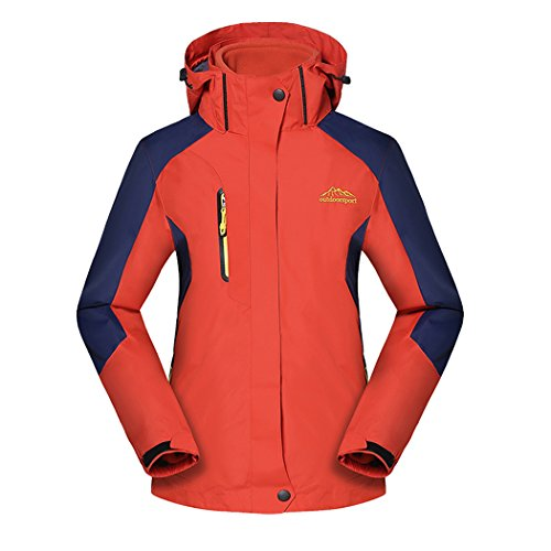 Real Spark(TM) Women 3 in 1 Detachable Fleece Liner Hiking Ski Windproof Outdoor Jacket Orange (Boucle Lined Suit)