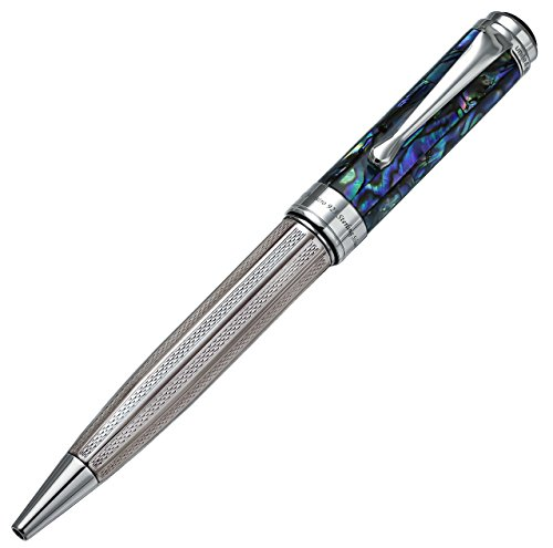 Xezo Platinum Plated Ballpoint Pen, Natural Sea Shell, Sterling Silver (Maestro Sea Shell BP)