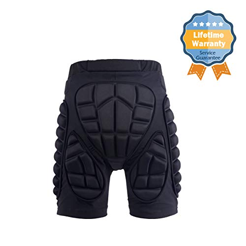GOHINSTAR Protective Padded Shorts 3D Protection Hip Butt for Ski Skate Cycling Men Women Black