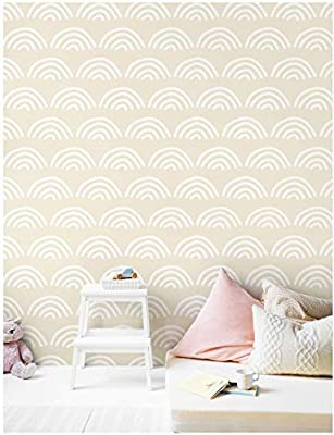 Haokhome 96023 1 Modern Scallop Peel And Stick Wallpaper Beige White Vinyl Self Adhesive Contact Paper Decorative 17 7 X 9 8ft Buy Online At Best Price In Uae Amazon Ae