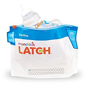 Munchkin Latch Microwave Sterilize Bags, 180 Uses, 6 Pack, Eliminates up to 99.9% of Common Bacteria