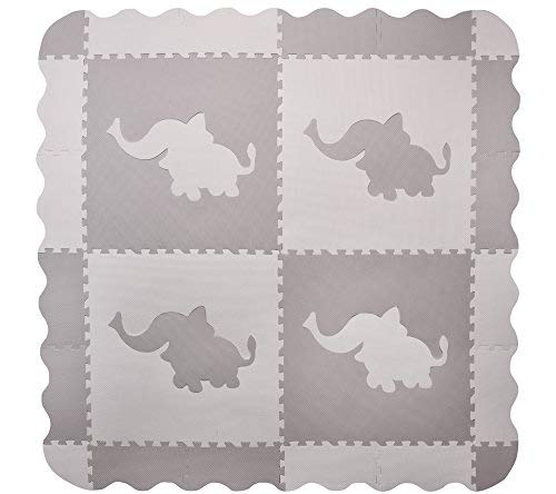 4 Large Interlocking Gray Foam Baby Play Mat with Elephants Tiles - Play Mats with Edges. Each Tile 24 x 24ins. Total 48 x 48in (Plus Edges) ()