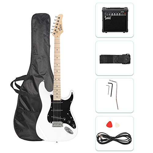 GLARRY 39″ Full Size Electric Guitar for Music Lover Beginner with 20W Amp and Accessories Pack Guitar Bag (White)