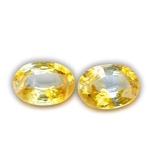 Lovemom 2.04ct/2pcs Natural Oval Yellow Sapphire Sri-Lanka ()