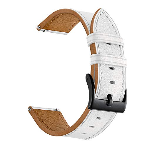 Aottom Compatible for Samsung Galaxy Watch Active Band Leather 20MM Smart Watch Replacement Band Metal Clasp Bracelet Wristband for Samsung Galaxy Watch 42mm/Active 40mm/Active 2/Gear Sport, White